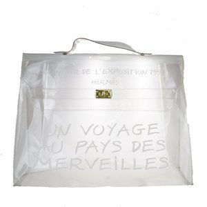 HERMES Vinyl Kelly 40 Hand Beach Bag